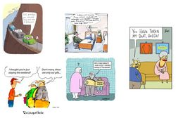 colllage of differnet cartoons concearning older people